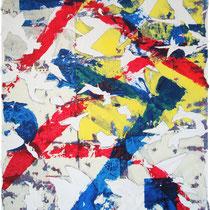 READING - peinture acrylique sur papier lacéré et marouflé sur toile - 81 x 100 cm