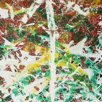 MUTATION - peinture acrylique et pastels à l'huile sur papier lacéré,brûlé et marouflé sur toile - 50 x 100 cm