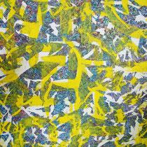 SUNDAY MORNING - peinture acrylique et pastels à l'huile sur papier lacéré, tailladé et marouflé sur toile - 73 x 100 cm