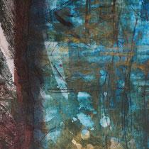 AU BOUT DE LA LIGNE - Peinture acrylique et pastels tendres sur papier lacéré - 51 x 41 cm (encadré)