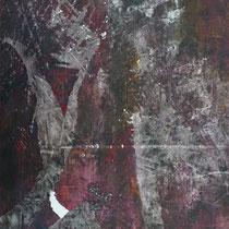 Peinture acrylique sur papier lacéré et tailladé - 51 x 41 cm (encadré)