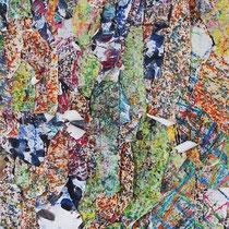 MEMORIES - peinture acrylique et pastels à l'huile sur lambeaux de papier collés sur toile - 25 x 100 cm