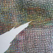 BIG CITIES - pastels à l'huile sur papier lacéré et marouflé sur toile - 80 x 80 cm