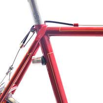 レザインの名作テールライト、フェムトドライブも直付けされています。シートステイ上端は少し長めの二本巻き。フルオーダーならではの工作が満載された自転車です!
