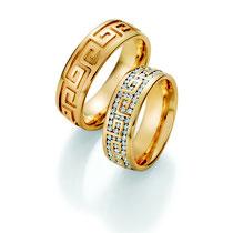 """Produktinformationen """"Ruesch Eheringe Gelbgold mit Brillanten 02/50090-070 + 02/50100-065""""  Massive Gelbgold Trauringe, extra flach verarbeitet für einen angenehmen Tragekomfort. Da die Ringe kaum spürbar sind, werden Männer die sonst keine Ringe tragen"""
