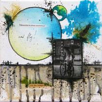 Débranche & Fly - techniques mixtes sur toile (20x20cm - collection privée) ©B.Dupuis