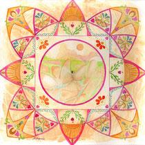 Mandala Nouvelle Terre (aquarelle sur papier, encadré 20x20 cm - collection privée) - © B. Dupuis