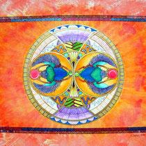 Mandala Scarabées (aquarelle sur papier, encadré  30x40cm - 110€)- © B. Dupuis