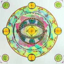L'oeil du Paon Mandala (aquarelle sur papier, encadré  30x30cm - 70€) - © B. Dupuis
