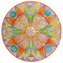 Mandala Vitrail (aquarelle sur papier, encadré 30x30 cm - 80 - 70€) - © B. Dupuis