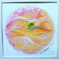 Mini Mandala - Oasis (aquarelle sur papier, avec passe partout 20x20cm - 35€)  © B. Dupuis