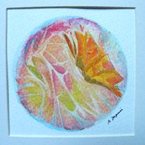 Mini mandala - papillon (aquarelle sur papier, avec passe partout 20x20cm - 35€)  © B. Dupuis