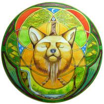 Mandala Fox's Spirit (aquarelle sur papier, encadré  30x30cm - vendu) - © B. Dupuis