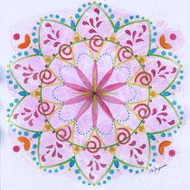 Mandala Allegria (aquarelle sur papier, encadré 20x20cm - collection privée) - © B. Dupuis