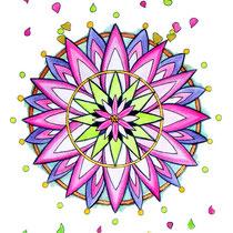 Mandalas Purple lotus (aquarelle sur papier 300gr, non encadré  20x56cm - 70€) - © B. Dupuis