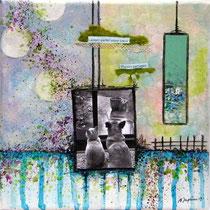 Plaisirs partagés - techniques mixtes sur toile (20x20cm - vendu) ©B.Dupuis