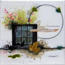 A la poursuite du bonheur - techniques mixtes sur toile (20x20cm - vendu) ©B.Dupuis
