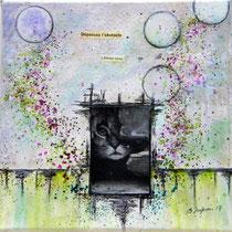 Libérez-vous - techniques mixtes sur toile (20x20cm - vendu) ©B.Dupuis