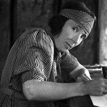 1938 India : Hedi Mertens rendering her husband Walter's plans for the Ashram.