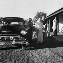 Late 1952 ; Baba, Eruch & Sarosh. This is the 1952 Chevy involved later in the Satara accident.