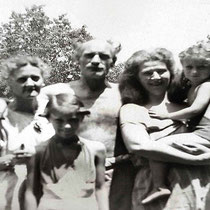 June 1949, New Jersey  - ( L-R ) Josephine, Anne, Kenneth, Kim Tolhurst holding Rosemary and Margarita. Photo Courtesy of Anne Ross. Image edited by Anthony Zois