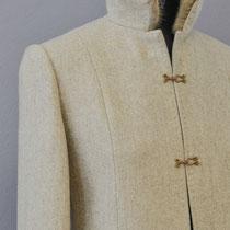 Damen-Wollmantel in Beige mit Pelzhaken