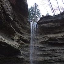die obere Hälfte des Wasserfalls
