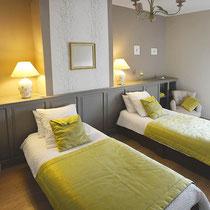 chambre nantelles - côté lits simples-maison d'hôtes de la groie l'abbé