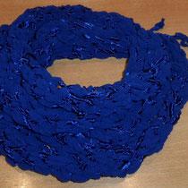 Fingerstrick-Loop in blau mit Glanz (2 Knäuel, 1-fädig gestrickt)