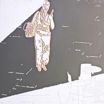 dabei kam es gelegentlich vor dass der körper ihre träger im langsamen fortgang der befragung zu einer hütte führte···2011····150x110cm