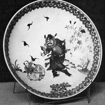 Les cinq bonheurs, sous forme de chauve-souris, capturées par deux enfants, en présence de Tchong K'oei, le destructeur des démons.