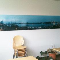 Panoramabild in Kantine, kaschiert auf Alu-Dibond, 2 mm, 500 x 70 cm