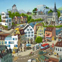 Wimmelbild Illustration für die Schweizer Post - Direct Mailing Din A3 - Thema: Adressänderung - Agentur: Ogilvy One AG Zürich
