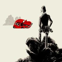 Illustration Titelseite Graphic Novel - Titel: Vatermilch - Autor: Uli Oesterle