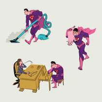 Vignetten Illustration für das Magazin Focus - Thema: Die neue Rolle des Mannes