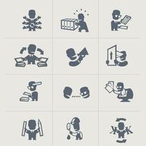 Icons für verschiedene Firmenbereiche - Druckvorstufe - Kunde: Eccomonte