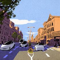 Illustration für die Wochenendausgabe der Süddeutschen Zeitung - Thema: Elektroautos und die Stadt der Zukunft