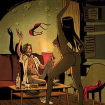 Aufmacher-Illustration für Kurzgeschichte - Thema: Brasilien zur WM - Autor: Altmann - Magazin: Playboy