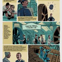 Doppelseiteig Comic-Biographie über André Citroén - Agentur: C3/ Burda Verlag - Citroén Magazin