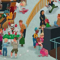 Lustige Wimmelbild Illustration für Puzzle, 1.500 Teile - Titel: Casino - Verlag: Athesia (früher Heye)