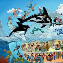 Lustige Wimmelbild Illustration für Heye Puzzles - U-Boot