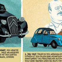 Zweiseitiger Comic für das Citroen Magazin - Thema: Biografie André Citroen