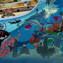 Lustige Wimmelbild Illustration für Puzzle (Detail 2) - Submarine / U-Boot - Verlag: Athesia (früher Heye)