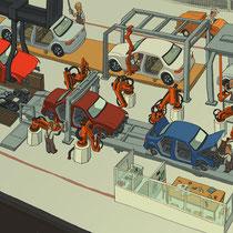 Wimmelbild für Kinderbuch Give Away - Auto Produktionsstraße - Kunde: Audi
