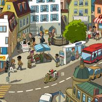 Wimmelbild Illustration für die Schweizer Post - Thema: Adressänderungen