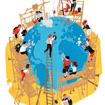 Aufmacher Illustration - Kunde: Greenpeace Magazin - Thema: Jeder hat Verantwortung, alle müssen zusammenhelfen und etwas tun