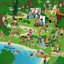 Wimmelbild Illustration für das Cover des SVA Magazin - Thema: Gesundheit - Agentur: Demner Merlicak & Bergmann