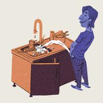 Vignetten-Illustration für Husmann Kolumne - Thema: Schlafwandeln - Magazin: Playboy