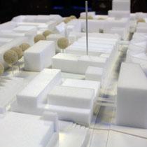Städtebaumodell Lindgens-Areal. Darstellungen zum städtebaulichenund freiraumplanerischen Konzept: Trint+ Kreuder mit KLA kiparlandschaftsarchitekten GmbH
