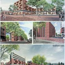 Architekturbeispiele. Darstellungen zum städtebaulichen und freiraumplanerischen Konzept: Trint+ Kreuder mit KLA kiparlandschaftsarchitekten GmbH
